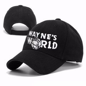 Black Wayne's World Hat Costume Waynes World Baseball Caps Unisex Earth Hats Embroidered Trucker Dad Hat Unisex Cap Adjustable forum novelties men s teenz unisex costume toga