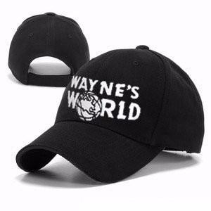 Black Wayne's World Hat Costume Waynes World   Baseball     Caps   Unisex Earth Hats Embroidered Trucker Dad Hat Unisex   Cap   Adjustable