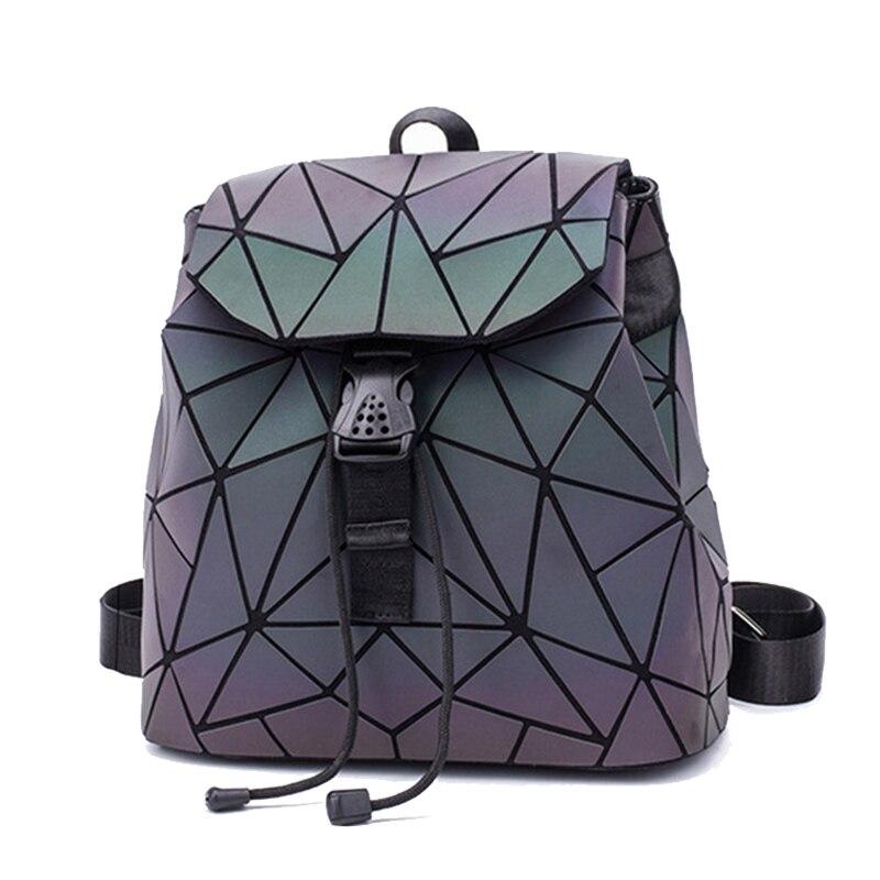 Brand luminous Geometric Quilted Backpacks Luxury School Bags for Teenage girls college student Bag Female Mochila