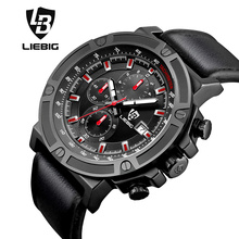 Fashion Men Sport Watch Multifunction Military Quartz Watches Sports Stopwatch Waterproof Luxury Wristwatch Xfcs LIEBIG 1014