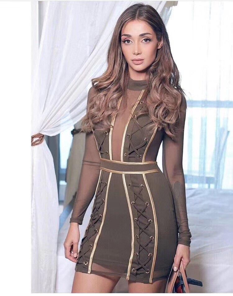 Moulante Clubwears Celebrity Longues Bandage Party Maille O Cou Robe Manches Nouveau Été Out Kaki Creux Femmes Robes Noir 2018 MjVUpzLGqS