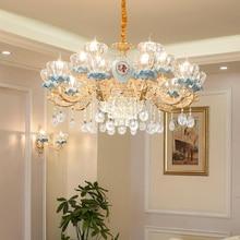Candelabro de cristal de lujo para sala de estar, candelabro clásico de cristal, accesorios de iluminación, lámpara dorada para dormitorio, lámpara LED de cristal para techo