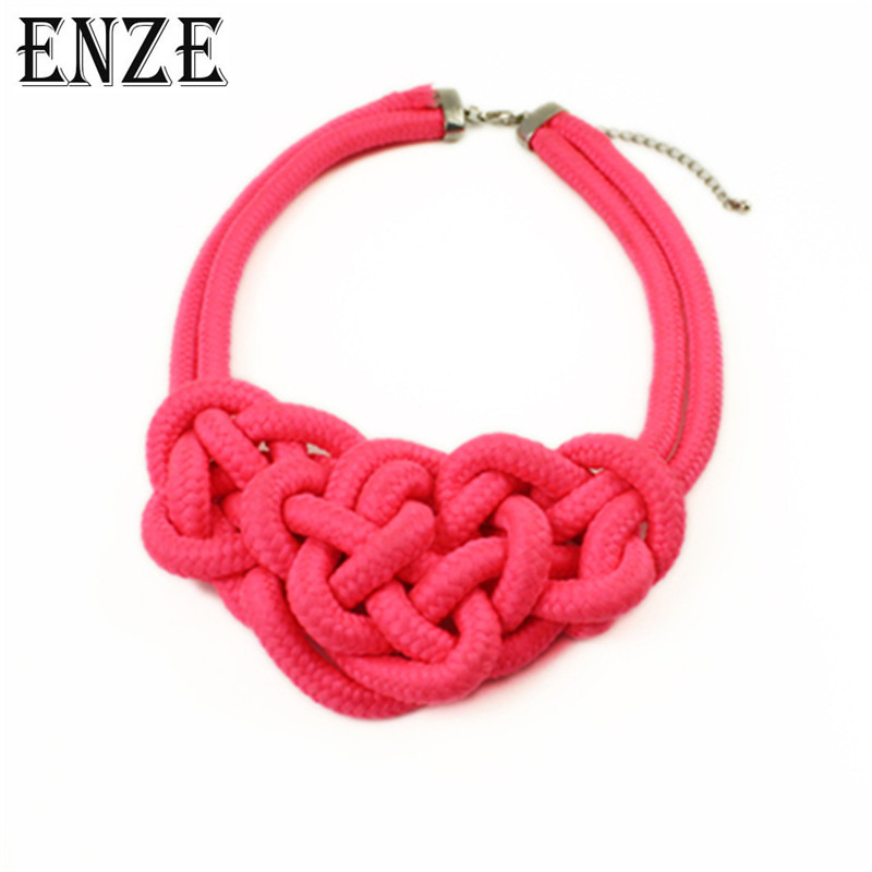 ENZE fluorescent color short hand cotton rope heart-shaped chain candy color weaving chain fashion ladies necklace accessories