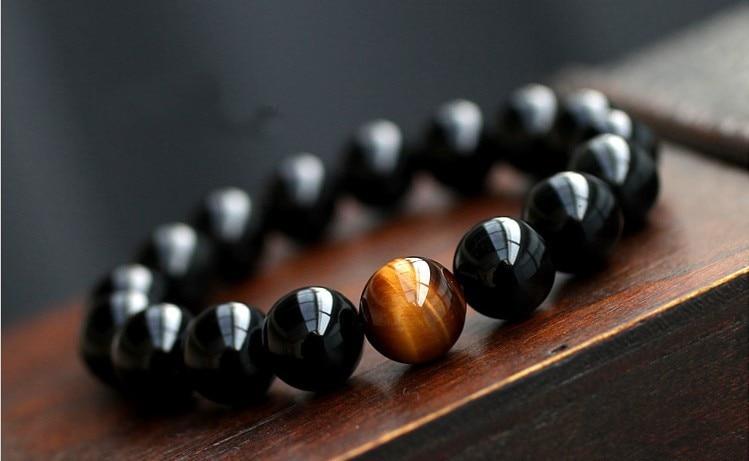 Natural Black Onyx with Tiger Eye Jewelry Bracelet 2