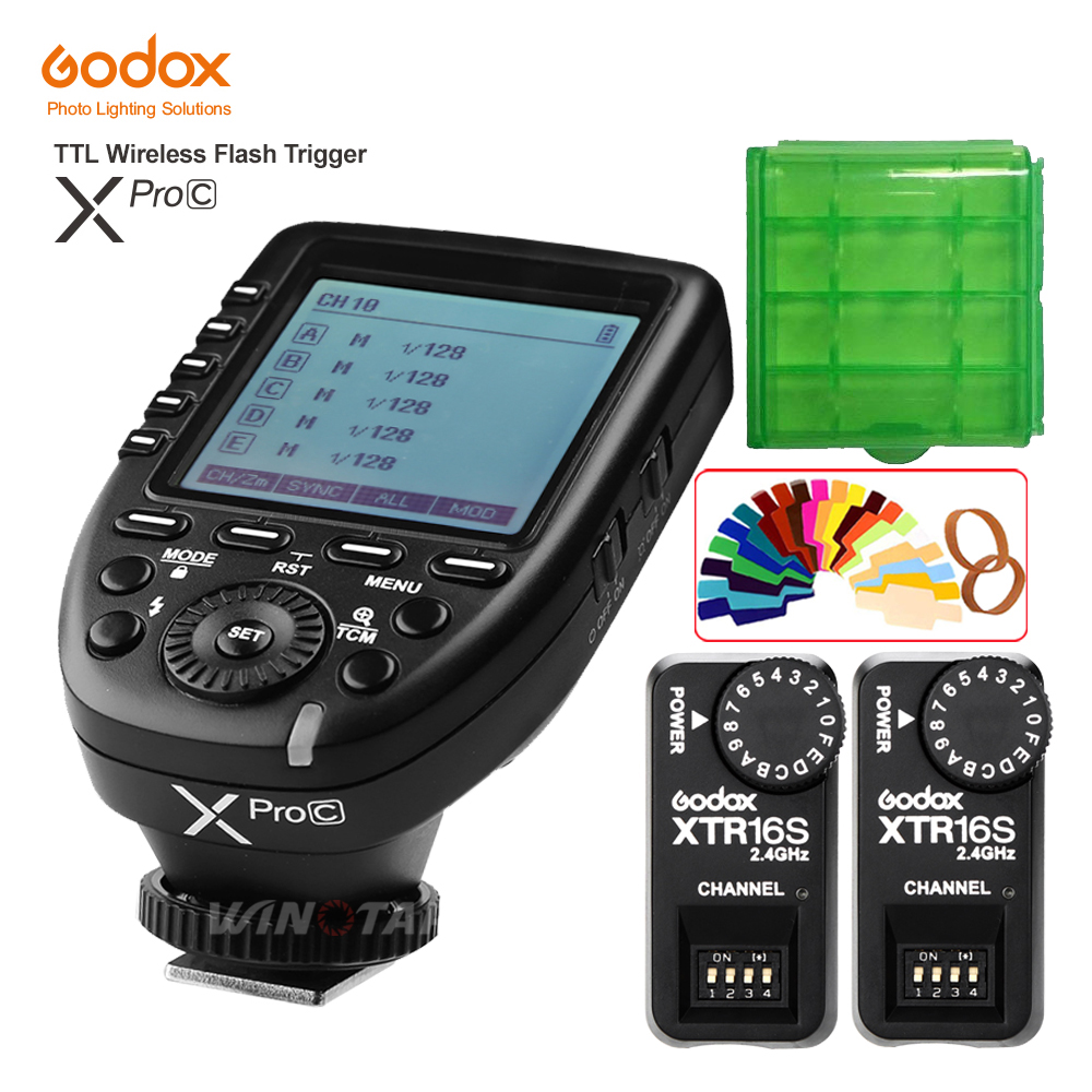 Godox XPro-C Flash Trigger Transmitter E-TTL II 2.4G Wireless X System HSS+2pcs XTR-16S Receiver for Canon For VING V860C V850C аксессуар phottix strato ii receiver for canon 15656