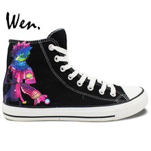 Wen Anime Hand Painted Shoes Natsu Fairy Tail Logo High Top Black Canvas Sneakers for Men Women's Birthday Gifts