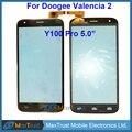 """Qualidade Top 5.0 """"para doogee valencia 2 y100 pro sensor de toque digitador da tela do painel de vidro frontal negro cor frete grátis"""