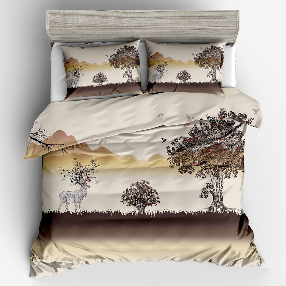 Comfortable,Breathable,Soft Elk Flower Tree Luxury 3d Bedding Duvet Cover Set Double Full Queen King Bed Quilt Cover Pillowcase