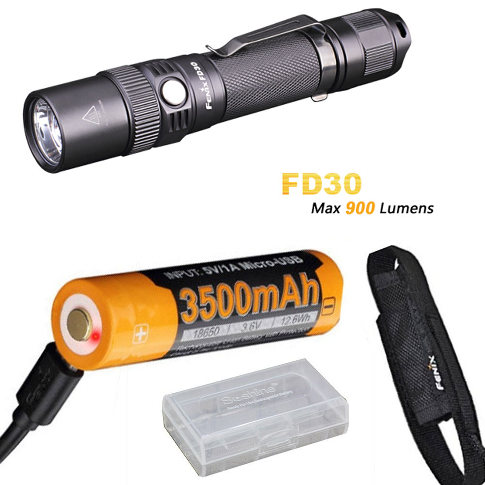 Fenix FD30 900 Lumen Zoomable Tactical LED Flashlight with Holster, ARB-L18-3500U battery and USB charging cable