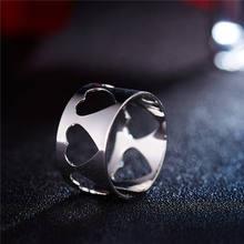 2019 nowych moda kolor srebrny miłość niewypełnione serce pierścień otwierający dla kobiet Punk Alloy Finger Rings prosta biżuteria Boho