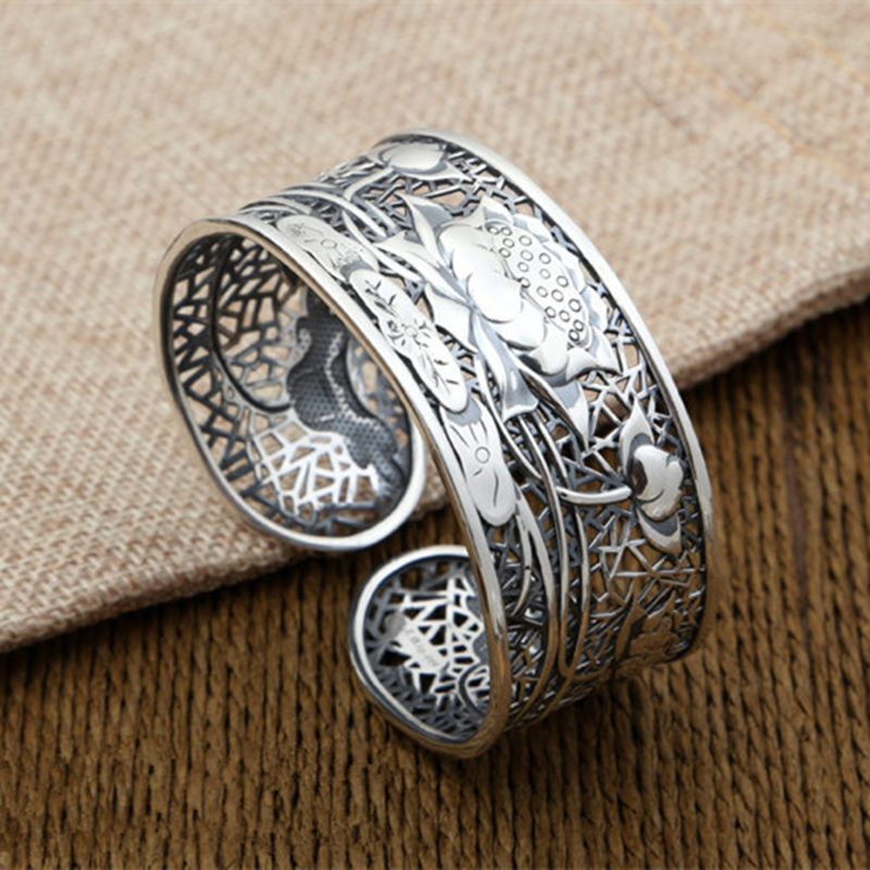 Fine Silver 990 Hollow Lotus Wide Cuff Bangle Bracelet For Women Antique Thai Silver Vintage China Style Jewelry Female GiftsFine Silver 990 Hollow Lotus Wide Cuff Bangle Bracelet For Women Antique Thai Silver Vintage China Style Jewelry Female Gifts