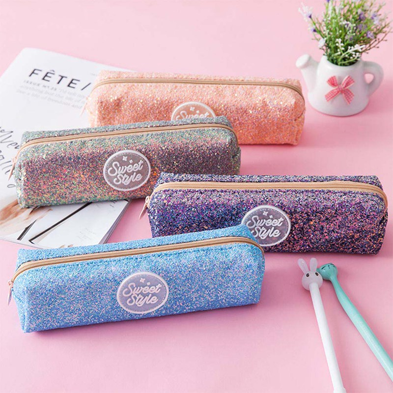 цена на Shining Pencil Case Glitter Color Sequin School Supplies Students Stationery Pencil Bag Girls Gift Escolar Pencil Bag Kawaii