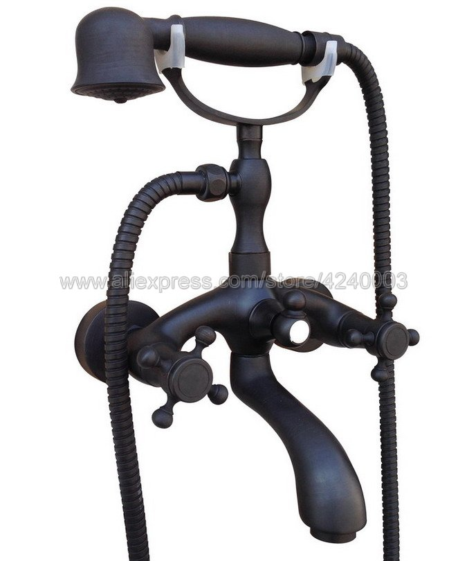 Oil Rubbed Bronze Bathroom Bath Tub Faucet Taps Dual Holder Telephone Style Wall Mounted Ktf561 deck mounted black oil rubbed bronze telephone style ceramic handheld shower bathroom tub faucet dual handles mixer taps wtf514