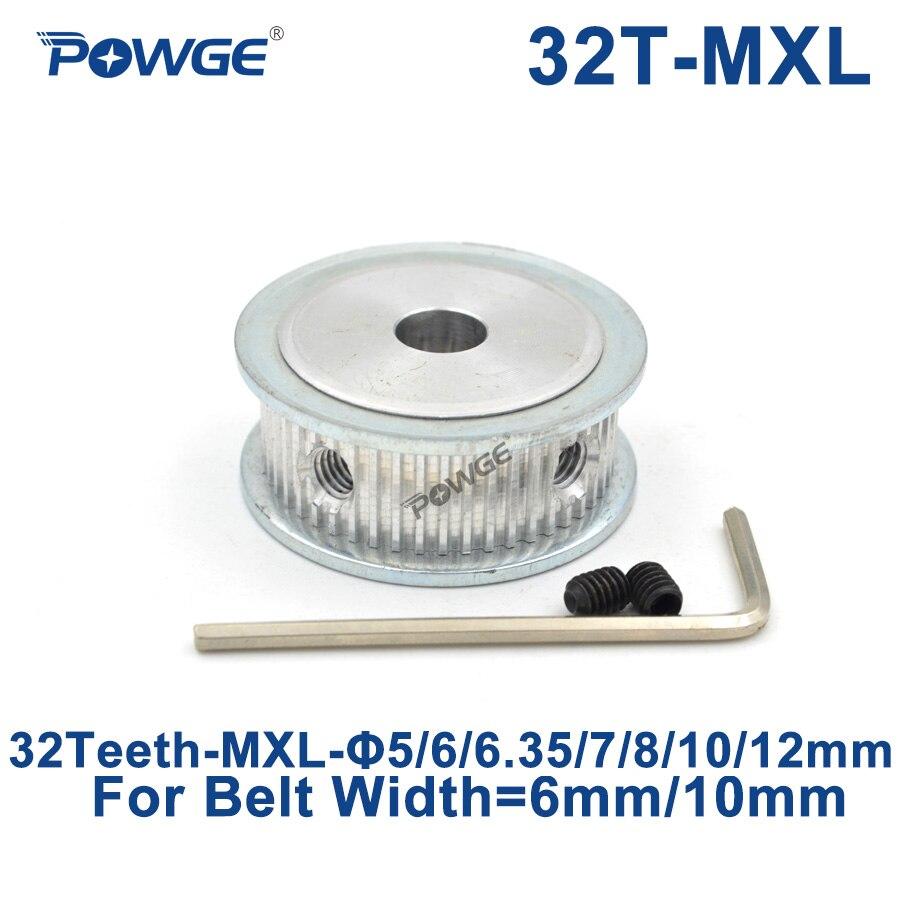 Poulies trapézoïdales POWGE 32 dents MXL alésage 5/6/6.35/7/8/10/12mm pour largeur 6mm 10mm MXL engrenage à courroie synchrone 32 dents 32 T