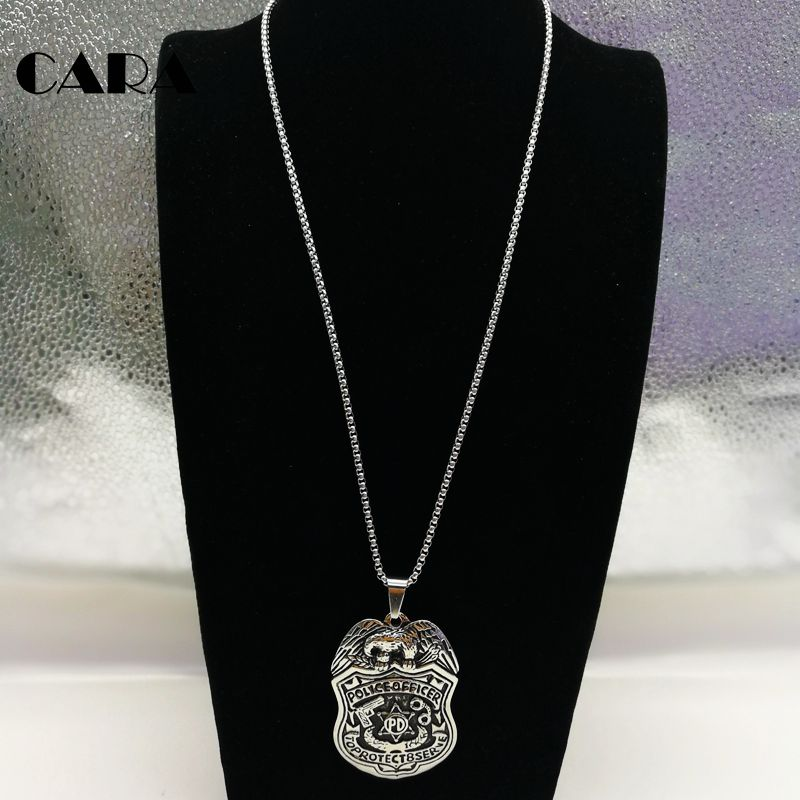 Cara new 316l stainless steel eagle police pd badge pendant necklace cara new 316l stainless steel eagle police pd badge pendant necklace mens officer fashion pendant necklace jewelry cara0383 in pendant necklaces from aloadofball Image collections