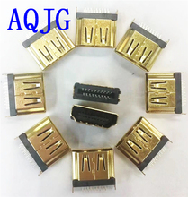 цена на 100pcs/lot HDMI Male Gold Plate SMD HDMI 19-Pin PCB Female Socket Connector Type A DIY Gold-plated connector AQJG