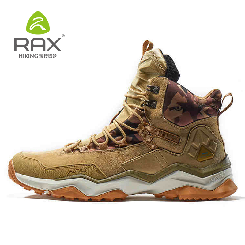 RAX Men New Outdoor Hiking Boots Genuine Leather Sports Shoes Waterproof Hiking Shoes Anti-Slip Mountain Boots 63-5B370 wood grain flannel skid resistant rug