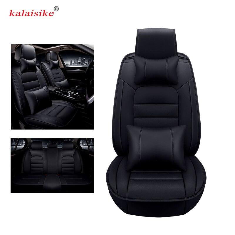 Kalaisike leather Universal Car Seat covers for Volkswagen all models polo golf tiguan vw Passat jetta passat Phaeton touareg