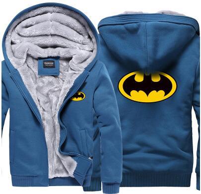 2017 Superman Hoodies Warm Liner The Flash Male Coat Jacket Batman Hoodies Winter Men Thick Superman