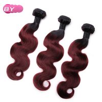 BY Brazilian Pre Colored Body Wave Raw Hair 99J Color One Piece Remy Human Hair Bundles