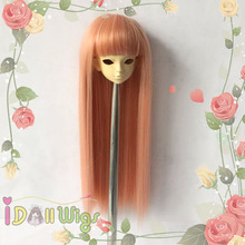 Top selling straight peachpuff  pink BJD doll wig shedding free 1/3 1/4 1/6 for choice brand new heat resistant synthetic pink purple blended straight soft bjd doll wig with bangs 1 3 1 4 1 6 1 8 for choice