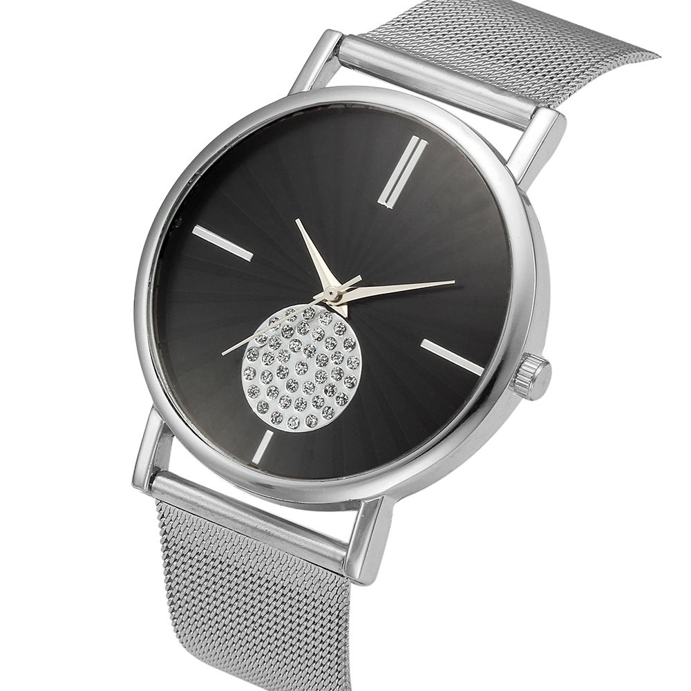 Humor Famous Brand Geneva Watches Gold Casual Quartz Watch Women Metal Mesh Stainless Steel Dress Wristwatch 100pcs/lot Careful Calculation And Strict Budgeting Watches
