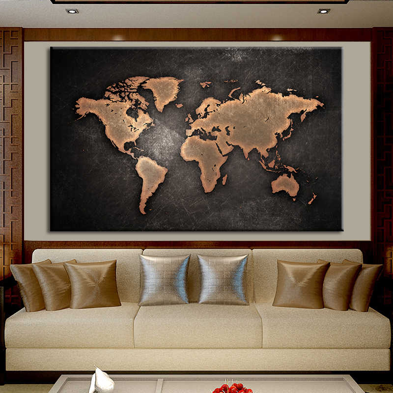 Abstract World Map Wall Picture Canvas Painting Print Poster on Canvas Nordic Style For Living Room Home Decor No Frame