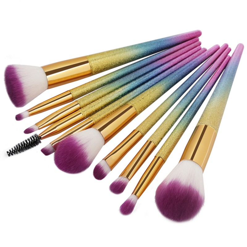 2 Colors 10Pcs 3D Makeup Brushes Set Cosmetic Foundation Powder Blend Eye Shadow Lash Lip Make Up Brush Maquiagem Beauty Tool Ki professional makeup brush flat top brush foundation powder beauty cosmetic make up brushes tool wooden kabuki