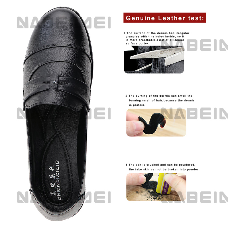 Image 5 - 2019 Genuine Leather Women's Flat Shoes Crystal Black Slip on Party Round toe Large Size 41 43 Ladies Loafers Soft Arch Support-in Women's Flats from Shoes