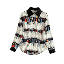 NiceMix Chic Contrast Color Lapel Long Sleeve Loose Skinny Cartoon Print Lazy Wind Shirt 2019 Spring Summer New Women Blouse Top