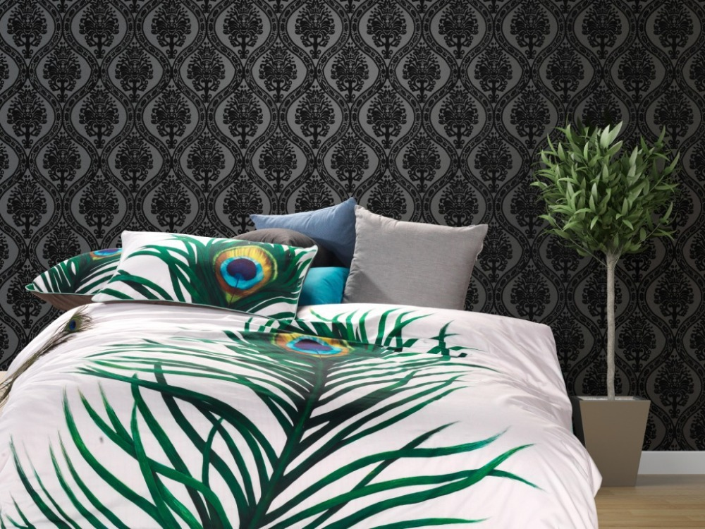3d big green peacock feather white queen size comforter duvet cover bedding sets linens bed. Black Bedroom Furniture Sets. Home Design Ideas