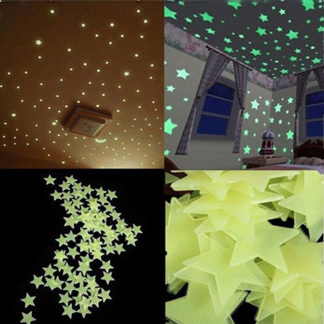 eeae9dcd74 100pcs Wall Stickers Decal Glow In The Dark Baby Kids Bedroom Home Decor  Color Stars Luminous Fluorescent Wall Stickers Decal