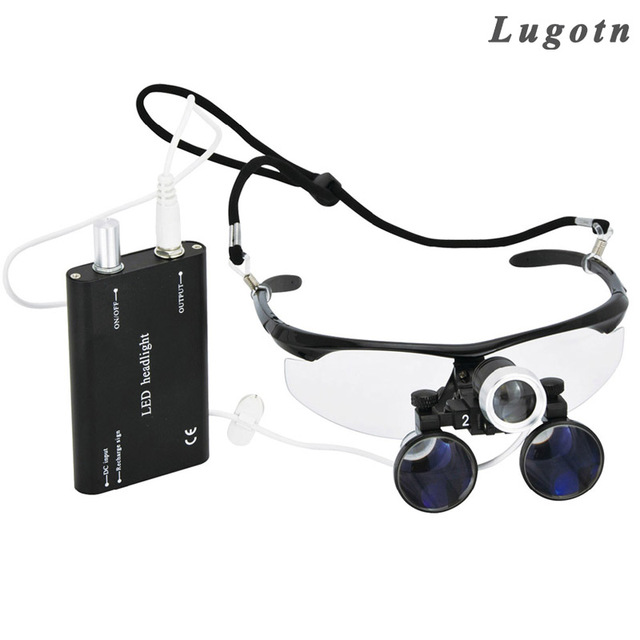 fb309ef544e022 2.5X grossissement binoculaire dentaire loupe avec phare led lumière  antibuée lunettes loupe médicale chirurgicaux chirurgie