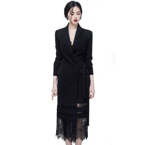 Image 4 - DEAT 2020 Good Morning! Black Lady Of Quality Ol Commute Temperament False Twinset Lace Long Fund Suit Dress WI126