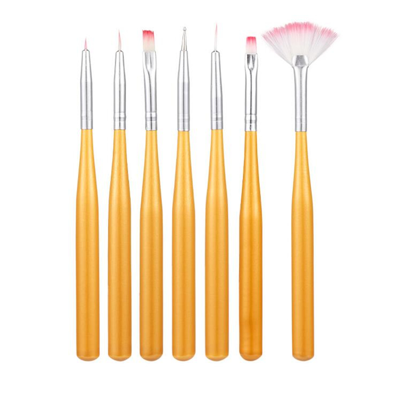 7PCS Nail Art Brushes Pens Acrylic UV Gel Nail Art Tips Painting Brush Pen Builder Handle Tool 2017 Hot New Beauty Gift Sale