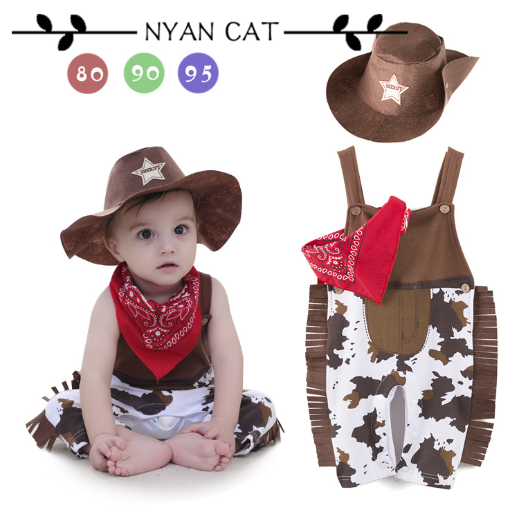 Nyan Cat Baby boy   romper   costume infant toddler cowboy clothing set 3pcs hat+scarf+  romper   halloween purim event birthday outfits