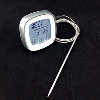 BBQ Grill Smoker Meat Touch Screen Operation Digital Thermometer With Probe Temperature Gauge For Kitchen Oven
