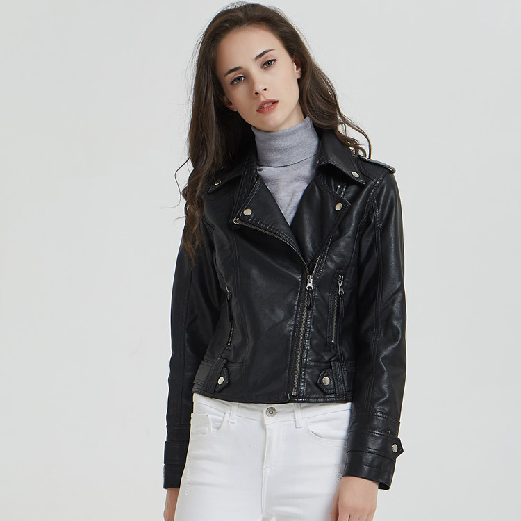 Spring Women Black Faux   Leather   Girls Motorcycle Coat Short Slim PU Washed Black   Leather   Jacket Ladies Tops Moto Biker Jacket
