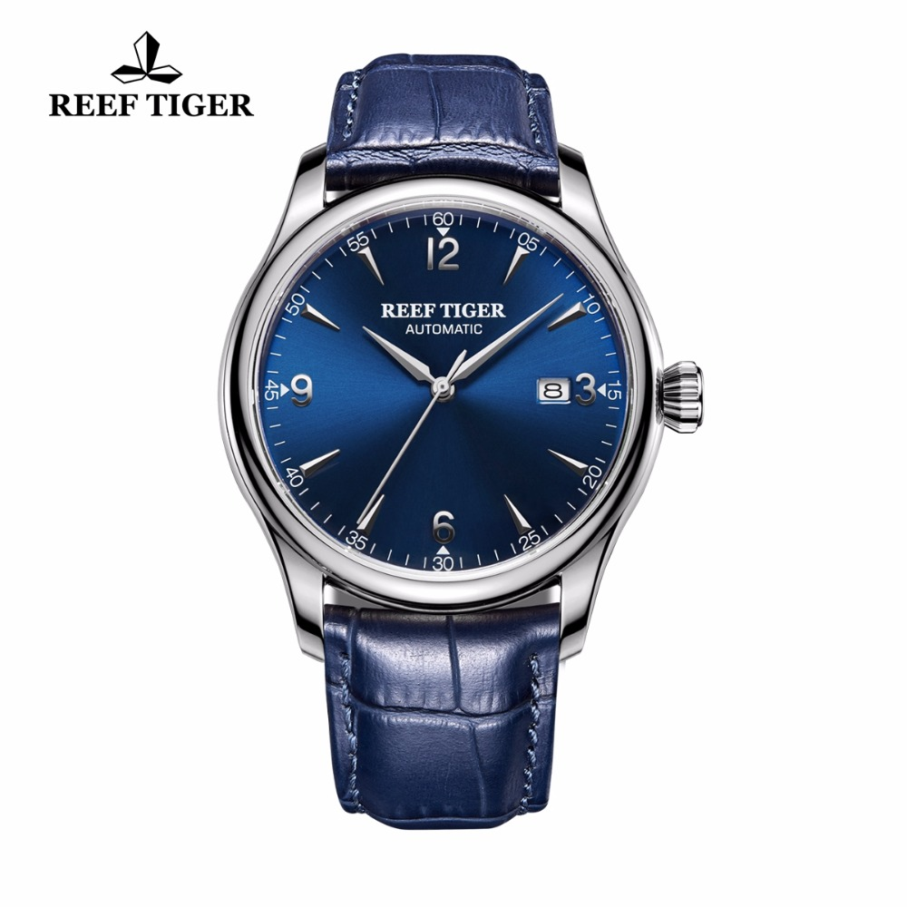 Reef Tiger/RT Dress Mens Automatic Watches Stainless Steel Blue Dial Leather Strap Watch with Date RGA823GReef Tiger/RT Dress Mens Automatic Watches Stainless Steel Blue Dial Leather Strap Watch with Date RGA823G