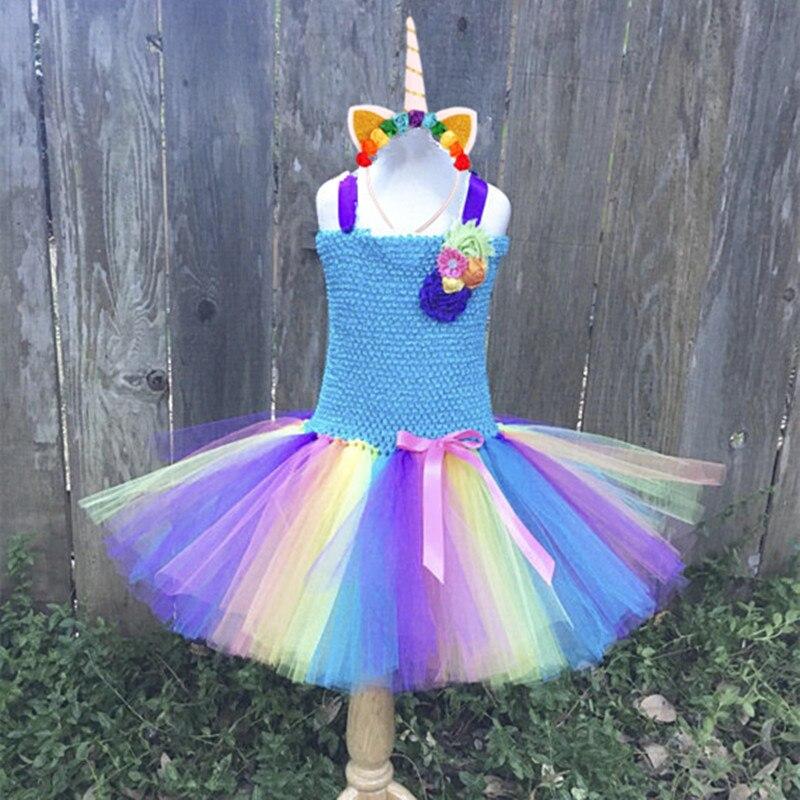 rainbow girls pony unicorn tutu dress tulle princess girl