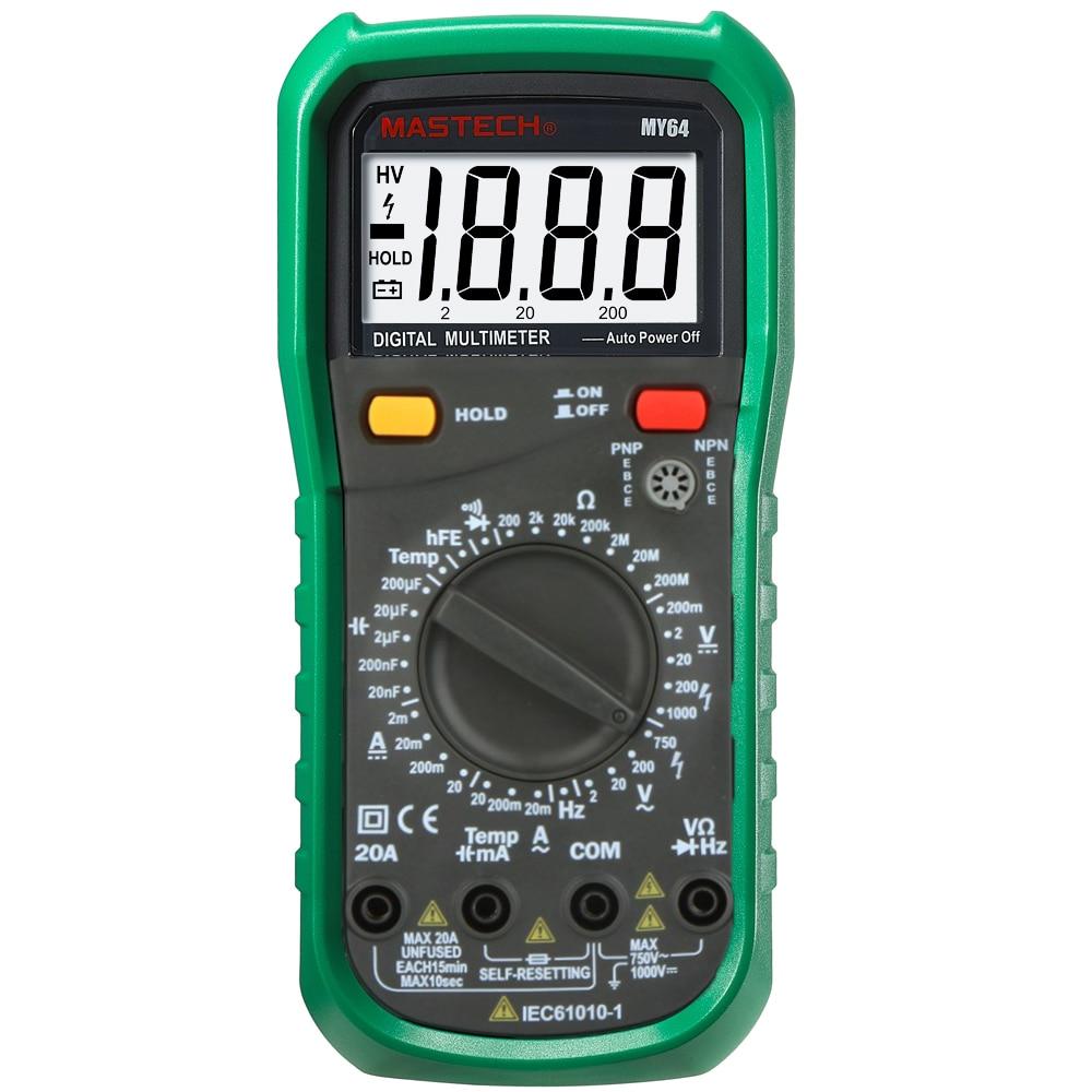 MASTECH MY64 Digital Multimeter Capacitance Temperature Meter hFE Tester with AC/DC voltage current resistance capacitance Test