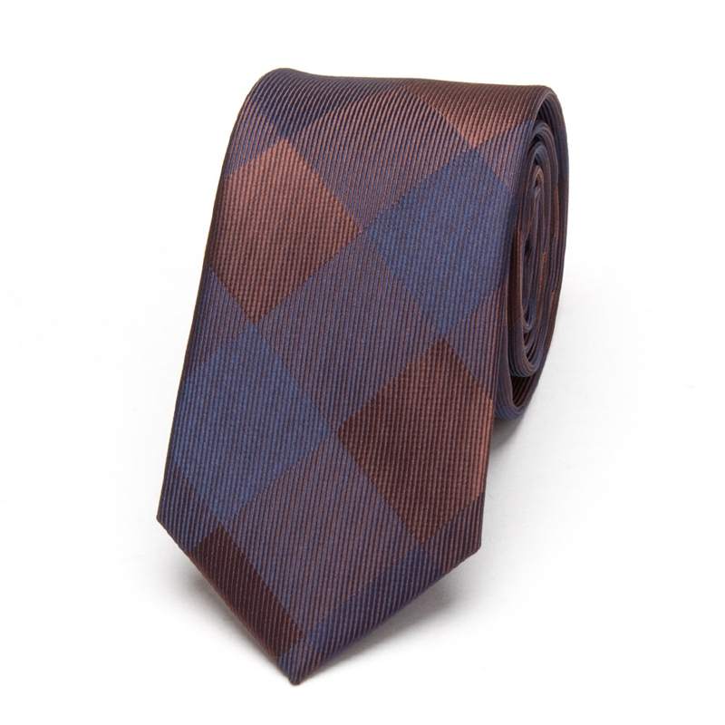 Men Neckties Classic Brown Fashion Wedding Leisure Business Skinny Ties Men's Party Skinny Slim Tie Plaid Jacquard Woven Narrow