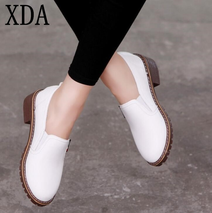 XDA 2019 new style Women Flat single Shoes Round Toe Oxford Shoes Woman PU Women bullockcasual Shoes Free Shipping(China)