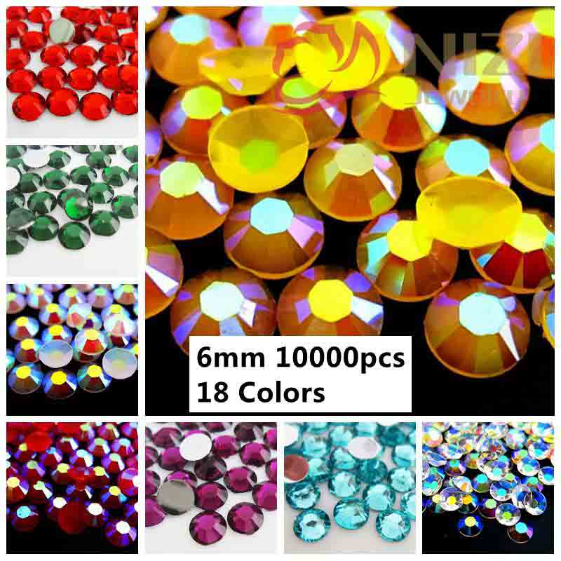 946199d194b5 6mm 10000pcs Resin Rhinestones Flatback Silver Foiled Glue On Non Hotfix  Diamond Colors  37  54 DIY 3D Nails Art Charms-in Rhinestones   Decorations  from ...