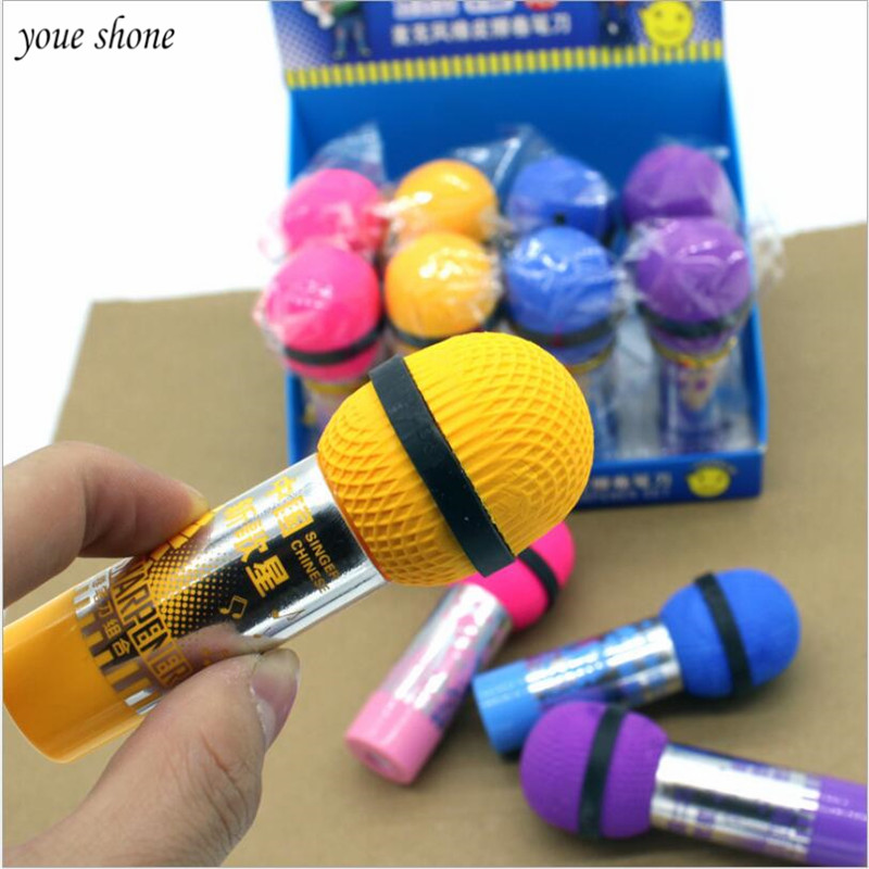 1Pcs/lot Microphone Styling Eraser With Pencil Sharpener Microphone Rubber Pencil Sharpener