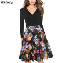 Oxiuly Womens Patchwork Floral Print Fall Dress Sexy V Neck Wrist Sleeve Party Female Vintage A-Line Dresses Vestido Femininos