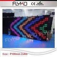 Этап специальные эффекты света дисплей 2x4 м p10cm под занавес Крытый dj оборудование гибкий светодиодный занавес