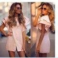 Dress vestidos maio mujeres año nuevo moda pink mini vestidos de brasil 2017 summer dress blusa manga de la mariposa corto o-neck dress