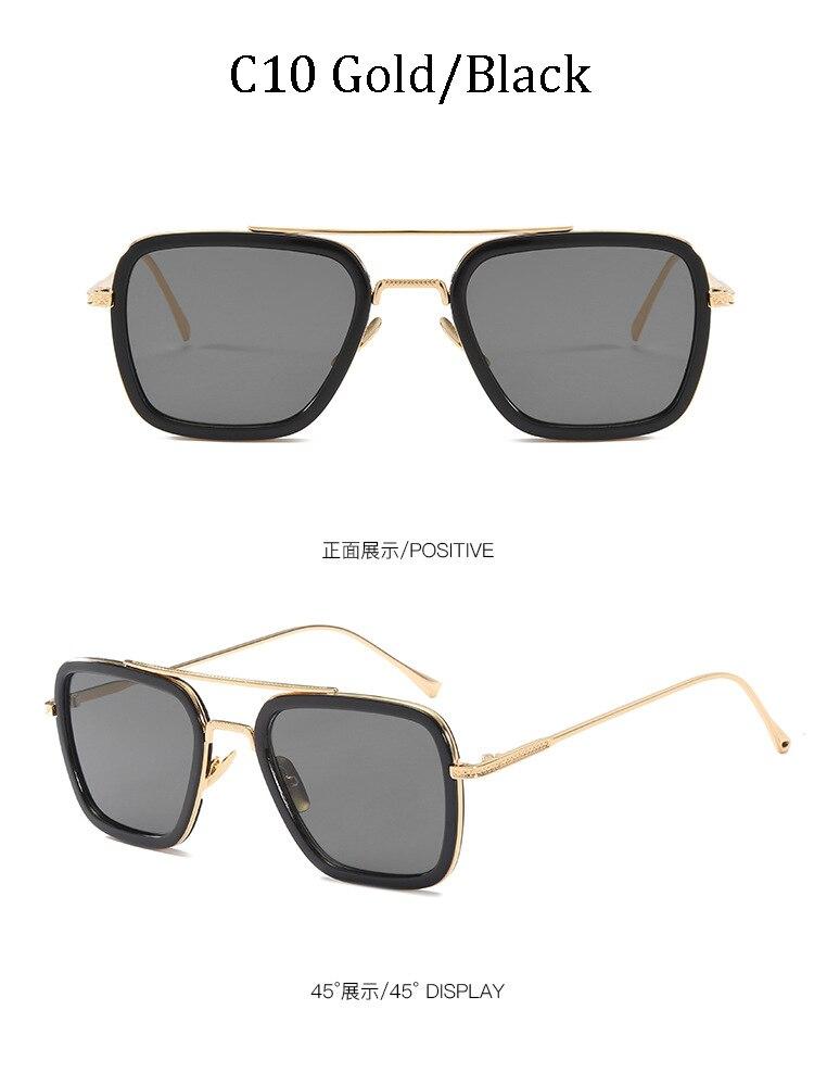 luxury Fashion Avengers Tony Stark Style for women Sunglasses Men Square Brand Design Sun Glasses Oculos Retro male iron Man 14