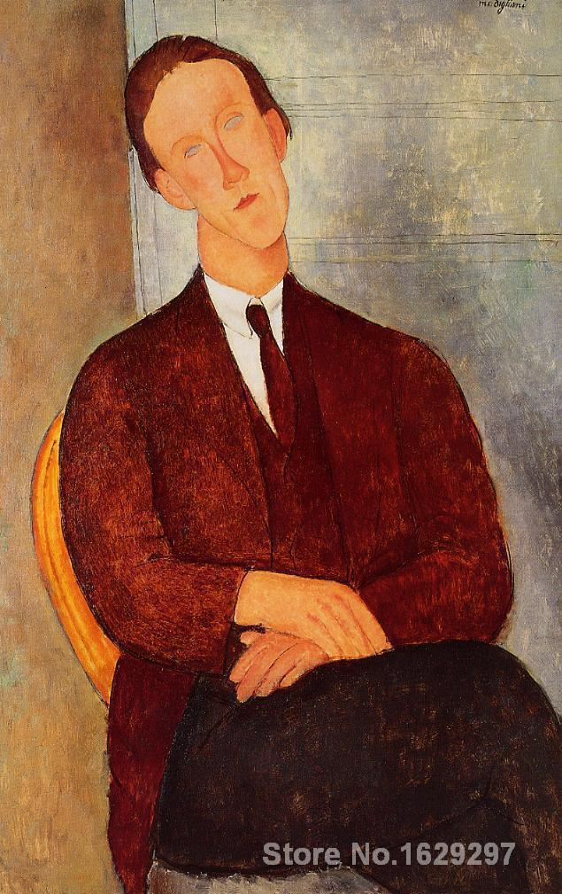 Portrait of Morgan Russell Amedeo Modigliani painting for bedroom decoration High qualityPortrait of Morgan Russell Amedeo Modigliani painting for bedroom decoration High quality